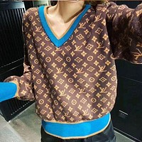 LV Louis Vuitton Knitted printed logo retro letters Korean bottoming shirt sweater women sweater