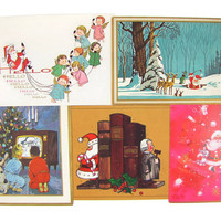 He's So Modern - 5 Vintage Christmas Cards, Santa Doing Odd Things: Golfing, Telephoning Angels, On TV, As a Lawyer's Bookend