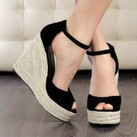 Ladies High Heel Sandals  Open Toe Button Straw Braid Wedges Platform Beach Sandals for summer = 4776775940