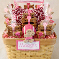 Birthday dog biscuit treat gift basket with squeak toy, unique gift, personalized, pink, customize, animal print