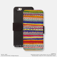 skque stripe tribal theme pattern iPhone Samsung Galaxy leather wallet case cover 007