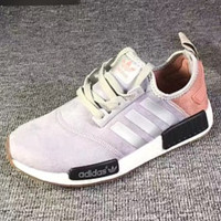 "Fashion ""Adidas"" Women Men Trending NMD Running Sports Shoes Grey Behind the pink"
