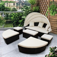 Outdoor Cushioned Daybed Modern Retractable Rattan Sofa Bed