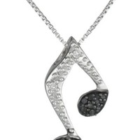 """Sterling Silver Black and White Diamond Music Note Pendant Necklace (1/10 cttw, H-I Color, I2-I3 Clarity), 18"""""""