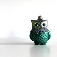 Green Owl Ornament: Shatter Resistant Hand Painted plastic Owl Ornament.