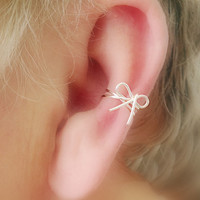 Ear Cuff Dainty Bow/ Choice of colors Non Pierced