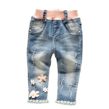 Free shipping 2017 spring autumn sweet girls flower lace denim trousers slim jeans children's colthing