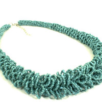 Turquoise Necklace Vintage Seed Bead Woven Loops