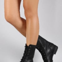 Women's Bamboo Combat Flat Ankle Boots