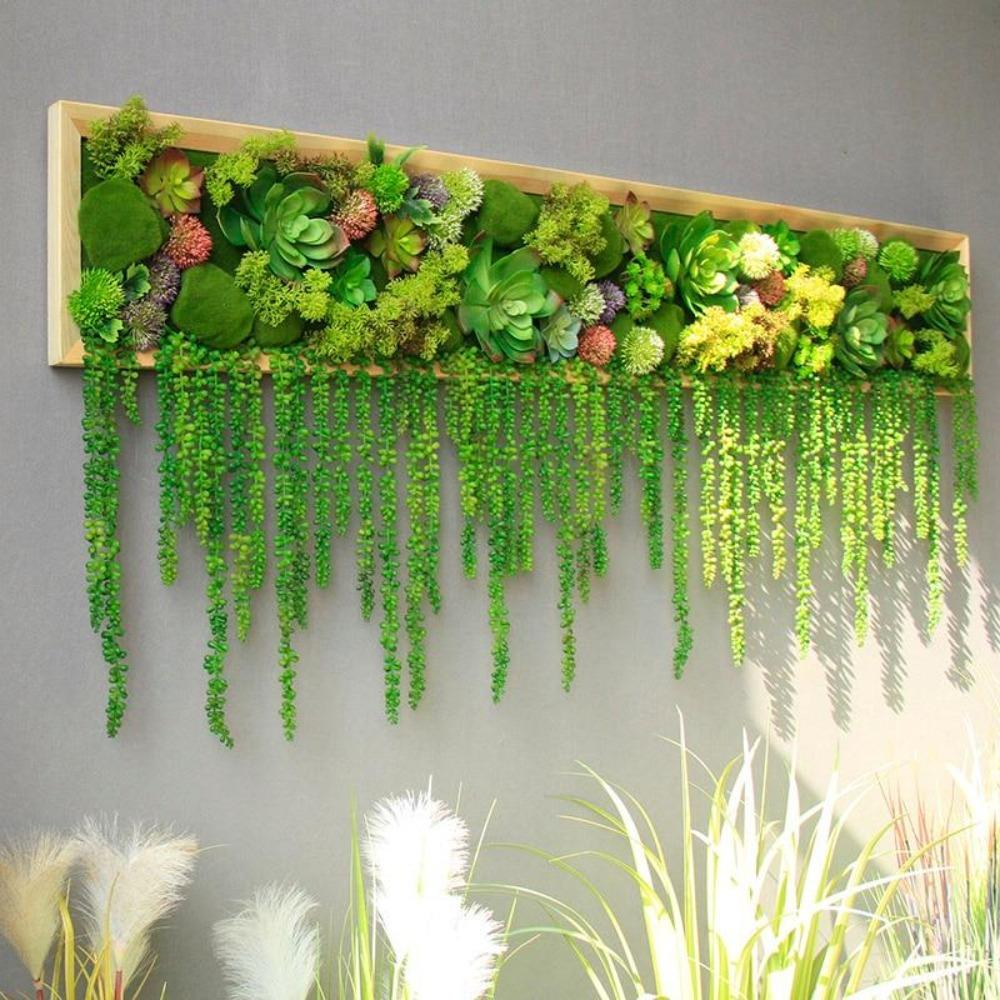 Image of Fresh Green Wall Decoration with Plant Design