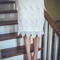 All Lace Bridal Skirt in White