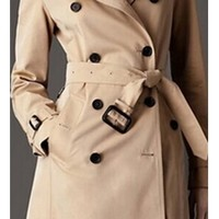 Beige Long Sleeve Double Breasted Button Belted Epaulet Knee Length Trench Coat Jacket