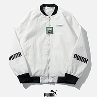 PUMA New fashion letter print couple long sleeve coat windbreaker White