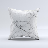 The Cracked White Marble Slate ink-Fuzed Decorative Throw Pillow
