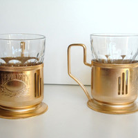 Golden tea glass holder Vintage Russian podstakannik 70s -80s Soviet tea glass holders  CCCP vintage Golden cups Traditional Russian Retro