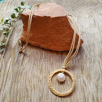 Button Pearl Hoop Necklace