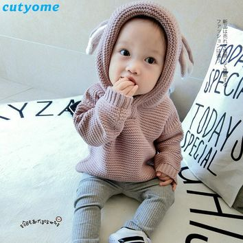 Baby Children Sweater Clothing Cotton Hooded Knitted Cardigan Pullover Kids Spring Autumn Winter Infant Boys Girls Outer Wear