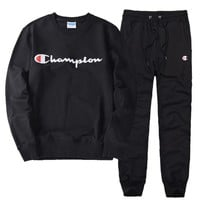 Champion Casual Pullover Round Neck Sweater Pants Trousers Set Two-Piece