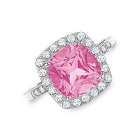 Lab-Created Pink and White Sapphire Ring in 10K White Gold with Diamond Accents - View All Rings - Zales