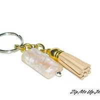 Purse Charm, Zipper Pull With Tasel, Gemstone Accents For Zippers