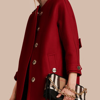 Technical Wool Cashmere Collarless Coat Parade Red