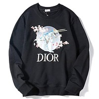 DIOR 2019 new cherry blossom dinosaur letter printing round neck sweater black