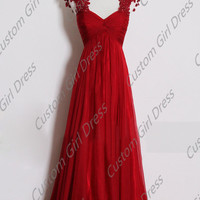 lace applique Princess red dress  Lace up Backless long dress Formal Dress Wedding/Bridesmaid/Fashion/Evening/Prom/Homecoming Dress