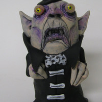 lowbrow clay one of a kind Dracula Vampire monster ooak art doll sculpture