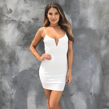 Shape Me Up Ribbed Bodycon Dress in White