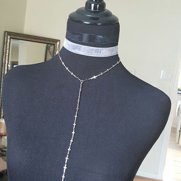 Rosemary - Cross Lariat Stainless Steel Chain Necklace