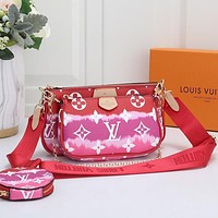 LV Louis Vuitton Hot Sale Gradient Color Classic Three-piece Set Fashion Ladies One Shoulder Messenger Bag Handbag Coin Purse