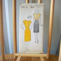 Vintage 1940s New York Pattern Sewing Pattern 878 Complete