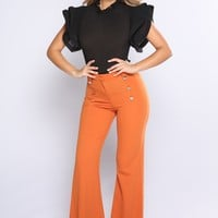 Ivana Crepe Button Front Pants - Amber