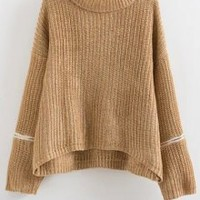 Zipper Turtle Neck Long Sleeves Jumper