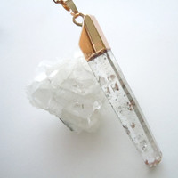 Raw Crystal Quartz Necklace - Gold Dipped Pendant - Mineral Specimen - Long Layering Necklace