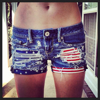 Stars and Stripes Studded Upcycled Hipster Denim Shorts USA American Flag