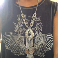 Long Silver Gypsy Boho Tribal Statement Necklace
