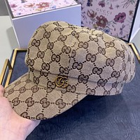 GUCCI New fashion more letter canvas couple cap hat Khaki
