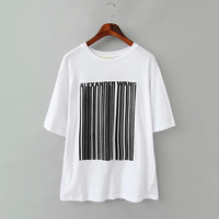White Letter And Stripe Print T-Shirt