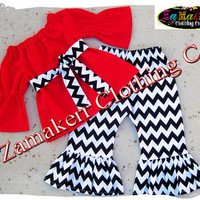 Custom Boutique Girl Clothing Christmas Outfit Set Chevron Toddler Infant Baby Santa Red Pant Gift 6 9 12 18 24 month size 2T 3T 4T 5T 6 7 8