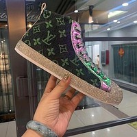 Louis Vuitton LV new high-top shoes all-match casual shoes with diamonds men and women sneakers