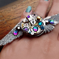 Steampunk ring, silver steampunk, angel ring, boho ring, crystal ring, magic ring, watch gear ring, watch movement ring, galaxy ring OOAK