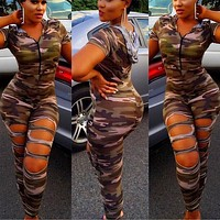 2017 New Camouflage Jumpsuit Hooded Overalls Women Bodysuit Rompers Womens Hole Army Green Suits Plus Size Combinaison Femme