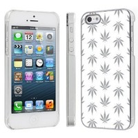 Apple iPhone 5 Hard Plastic Cover Case - White Weed By SkinGuardz