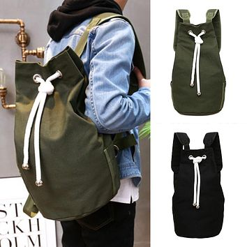 Men's Solid Color Drawstring Canvas Large Capacity Bucket Bag Casual Backpack