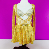 Gold dance costume bedazzled with Swaroski / dance wear/ dance competition / lyrical