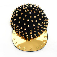 90s Gold and Black Studded Spike Flat Top Unisex Snapback Hat