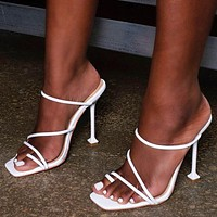 Summer Classic Women Sexy Pure Color Stiletto High Heels Sandals Shoes