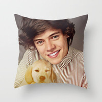 Harry Styles One Direction Labrador Retriever Puppy Throw Pillow by Toni Miller | Society6