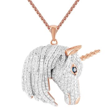 Men's Iced Out Unicorn Rose Gold Finish Custom Bling Silver Pendant